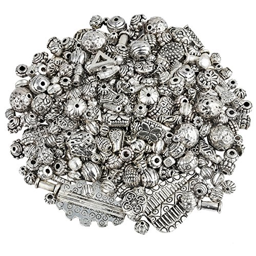 SUNYIK Vintage Tibetan Silver Tone Bulk Sale Spacer Charms Bead Supplies for Jewelry Making 1-3mm Hole,0.5lb(230 - Vintage Spacers
