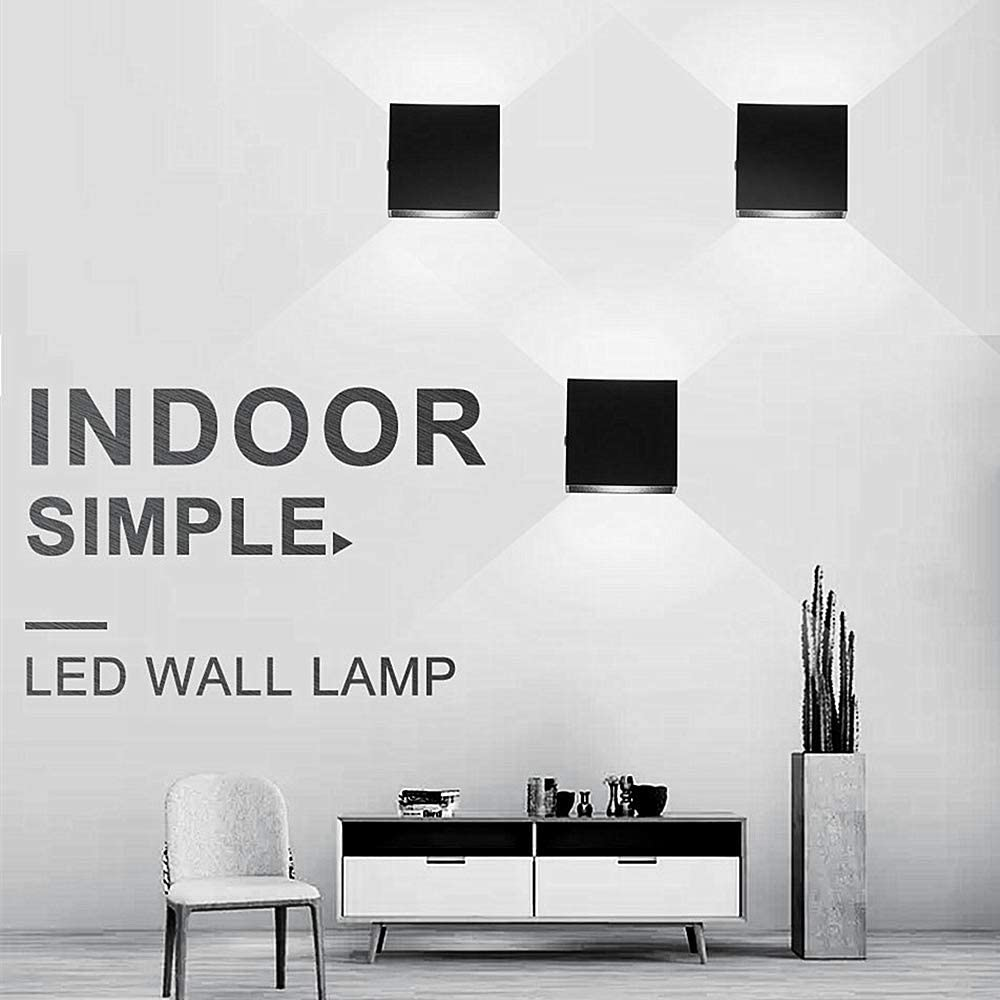O1186TP Mini LED Wall Sconce Dimmable 10W Lightess Modern Wall Lamp Black Up Down Wall Mount Lights Mini Metal for Living Room Hallway Bedroom Decor Cool White