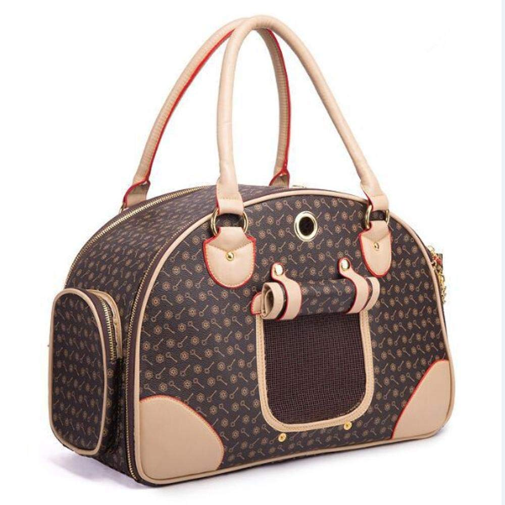 Coffee S 38cm coffee S 38cm Luxury PU Leather Dog Carrier Bag Pet Tote Quality Small Dog Cat Carrier Bag Outdoor Portable Dog Carrier Handbag (S 38cm,Coffee)