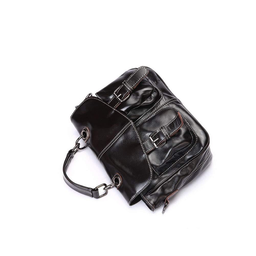 Color : Black, Size : 27cm12cm21cm HWX Womens Handbag Oil Wax Leather Handbag Popular Shoulder Messenger Bag