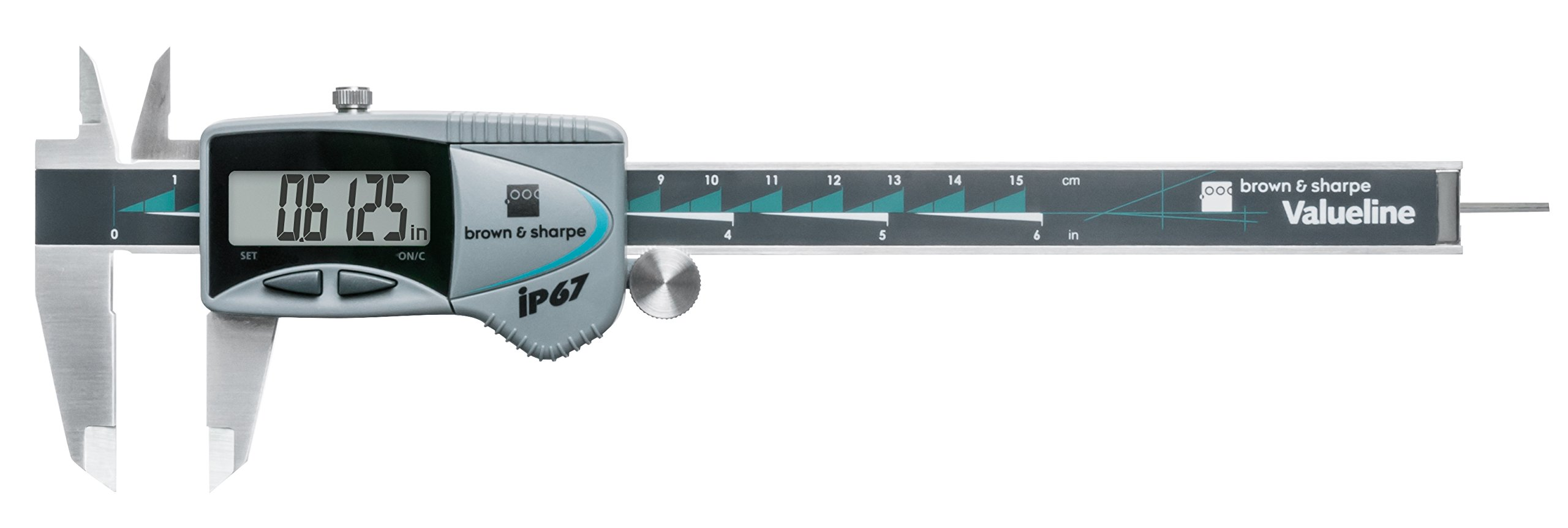 Brown & Sharpe 00599391 Valueline IP67 Electronic Caliper, 0 to 6'' Range, 0.0005'' Resolution, Round Depth Rod