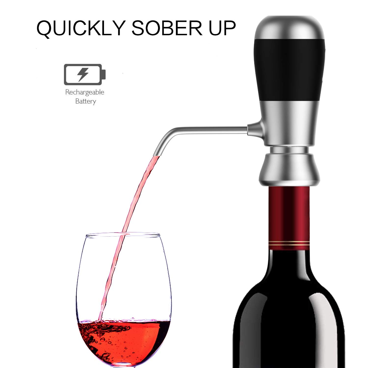 LOVHO Instant 1-Button Electric Wine Aerator - Rechargeable Battery - Black