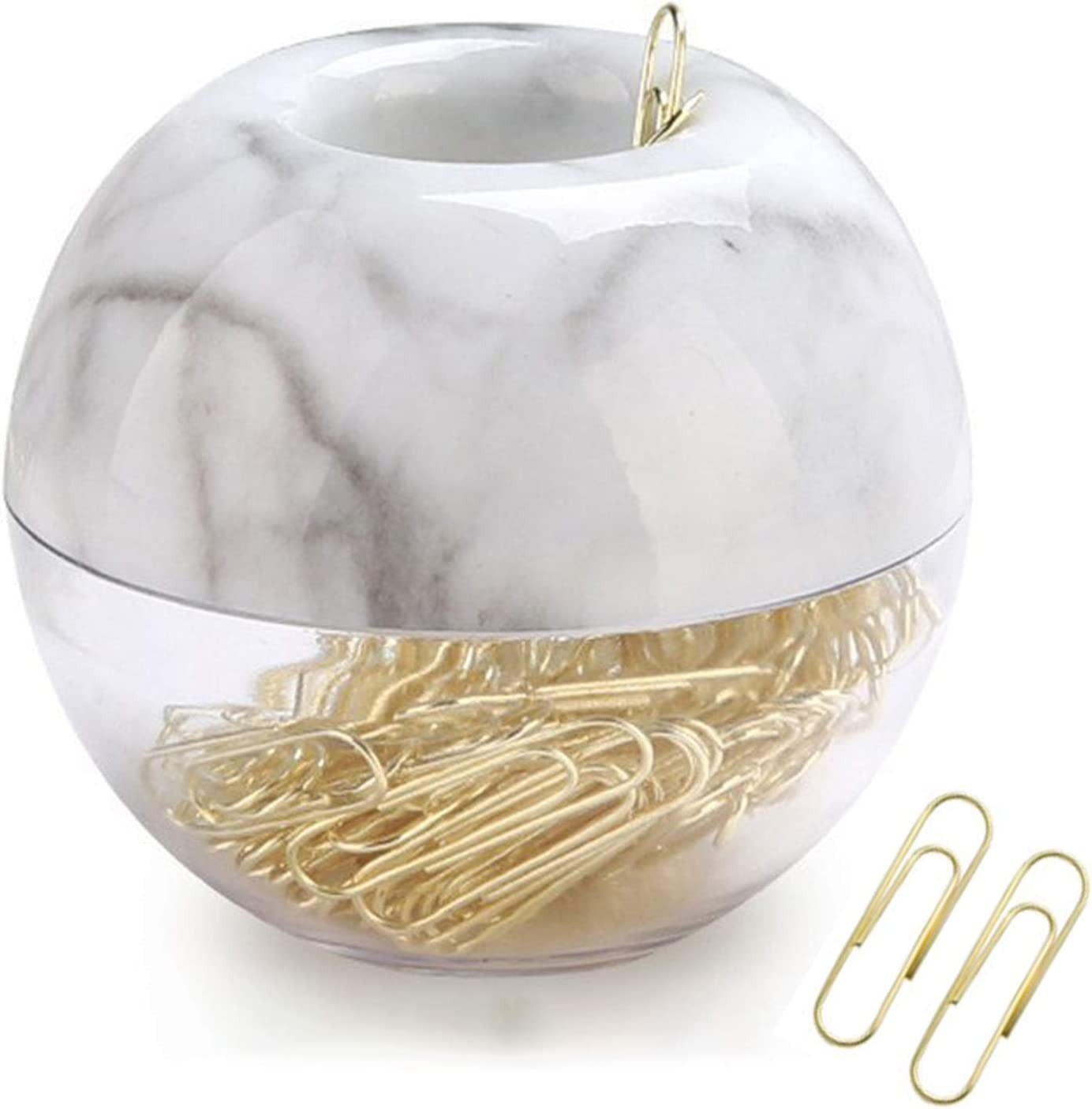 "Magnetic Paper Clip Holder,Marble White Holder with Gold Paper Clips 100pcs 28mm(1.1"") Cute Office Supplies for Desk Organizer"