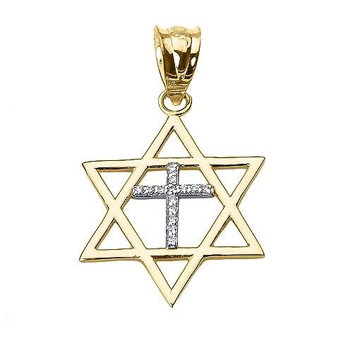 High Polish 10k Yellow Gold Jewish Charm Star Diamond Cross of David Pendant