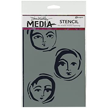 "Dina Wakley Media Stencils 9/""x6/""-circle Faces"