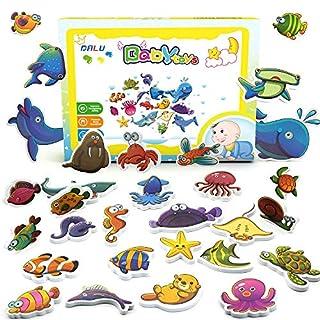 DALV Baby Bath Toy 30 Pieces Sea Animals Foam Toys for Baby Toddlers, Fun Bathtub Toy Non-Toxic Floating Animal Toys Set
