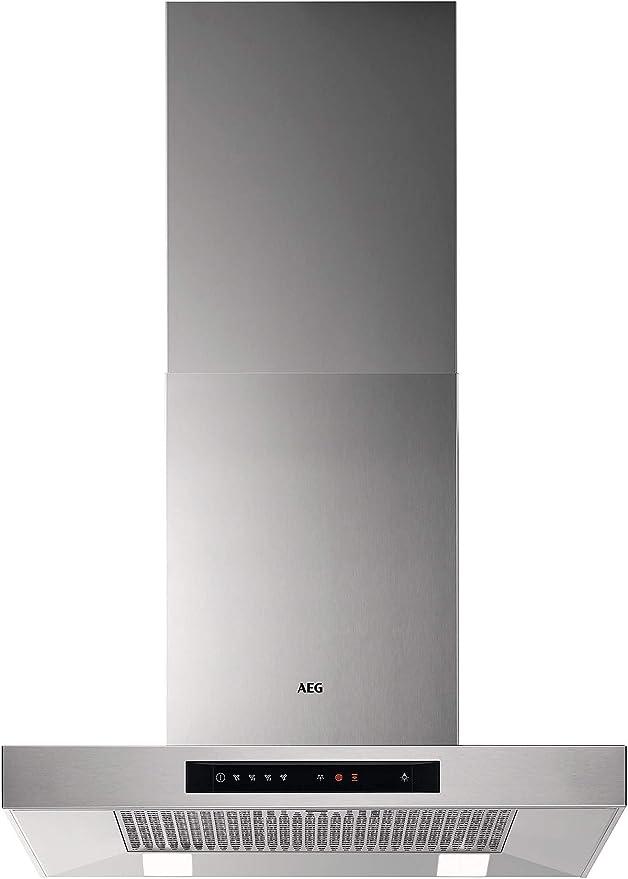 AEG DBB5660HM Campana extractora de pared, 60 cm, 4 velocidades, Potencia hasta de 779 m3/h, Nivel de ruido 55 dB(A), Luces LED, Sincronización automática con placa compatible, Inox, Clase A: 291.28: Amazon.es: