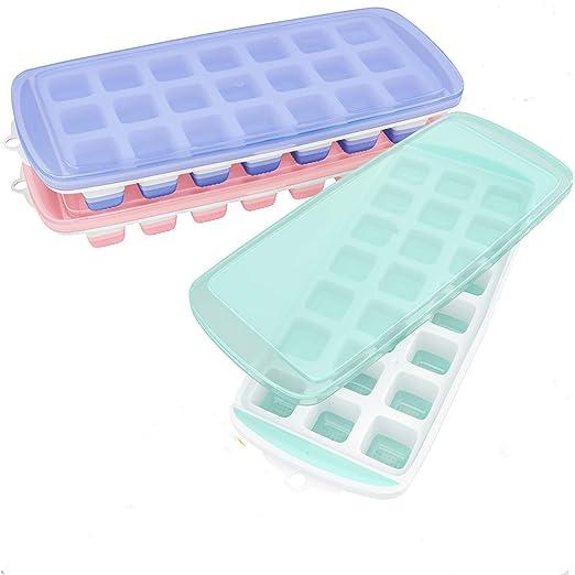 Compra TBBA 3 Paquetes de Cubos de Hielo de Silicona con Tapa ...