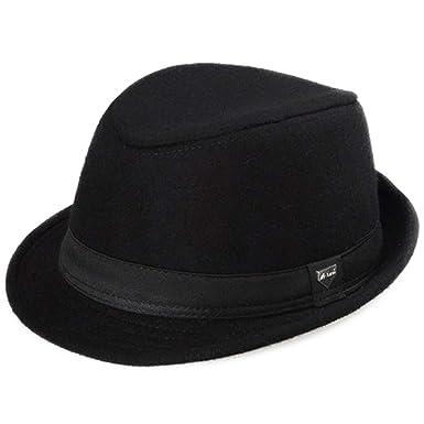 5be8bf4466569 DOSOMI Retro Black Fedora for Men Wool Felt Trilby Hat Gentleman Wide Brim  Winter Outdoor hat