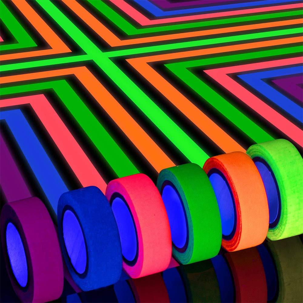 Cinta de Luz de Ne/ón UV de Cinta,Cinta Fluorescente,L/ámpara UV Sensible a Los Rayos UV con Decoraci/ón de Fiesta Artesan/ía 6 Colores
