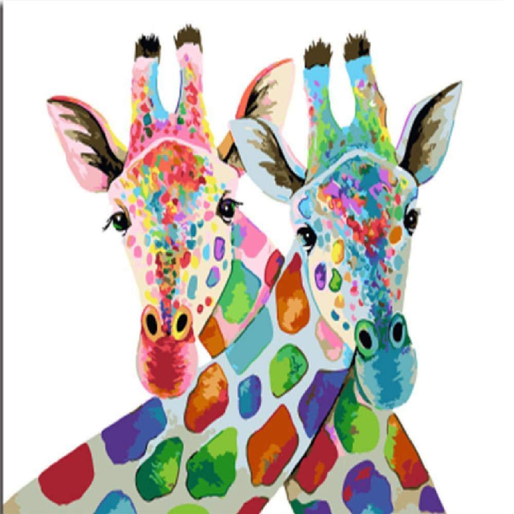 40x50cm  jjyyh Peintures par Numéros Cerf Couleuré 100X180Cm Bricolage Peinture à l'huile Linen Toile pour Adultes Les Enfants Débutants des Gamins' Jouet Numéros Peinture par Décoration Murale