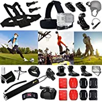 Xtech SOCCER ACCESSORIES Kit for GoPro Hero 4 3+ 3 2 1 Hero4 Hero3 Hero2, Hero 4 Silver, Hero 4 Black, Hero 3+ Hero3+ Hero 3 Silver, Hero 3 Black and for basketball, Soccer, Football, Golf, Golfing, Tennis, Baseball, Volleyball, Beach-ball, Hockey, Ice Hockey and other Similar Sport Activities Includes: + Head Strap Mount + Helmet Harness Mount + Chest Strap Mount + 2 J-Hook Mount + Camera Wrist Mount + Selfie Stick Monopod Pole + 2 Curved Adhesive Stickers + MORE