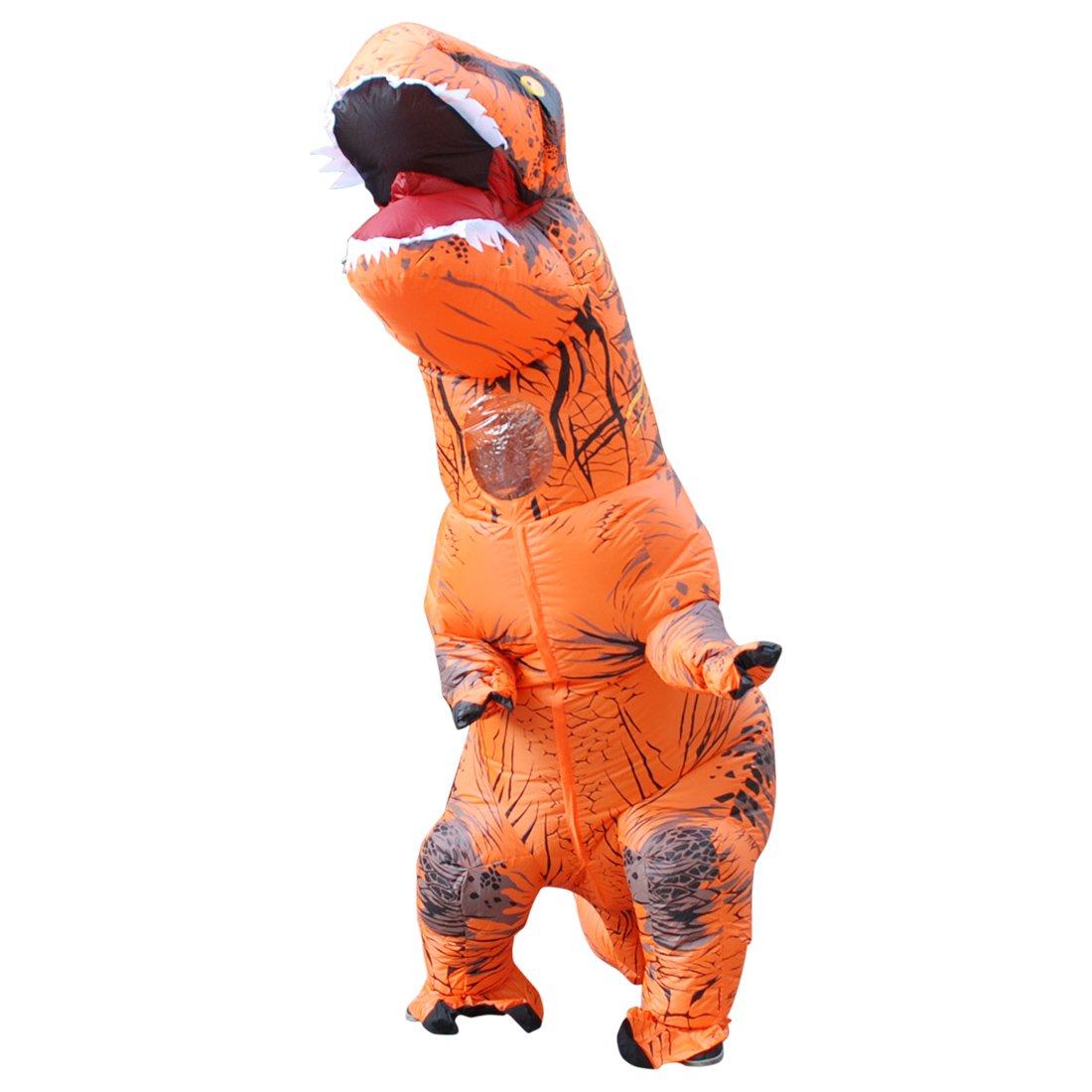 DUBAOBAO Kostüm Aufblasbares Dinosaurierkostüm Halloween-Ereignis, Aufblasbares Dinosaurierkostüm Halloweens, Aufblasbares Tyrannosauruskostüm, Orange