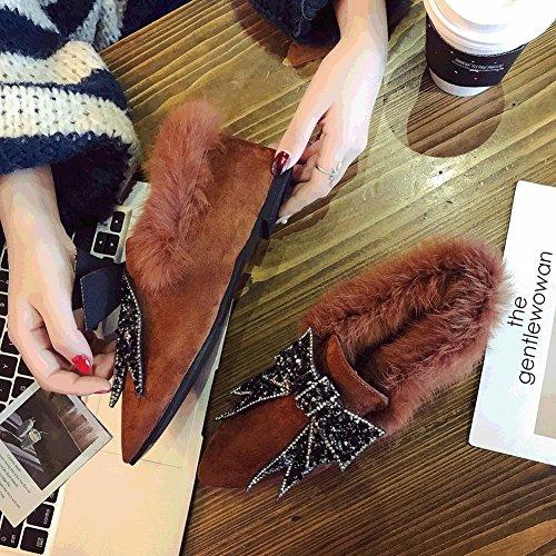 Femenina EUR35 Zapatos Manga Británica Zapatos caqui de Zapatos Única Escarchado Zapatos Nudo Señaló Felpa Arco qxq6SWtAn