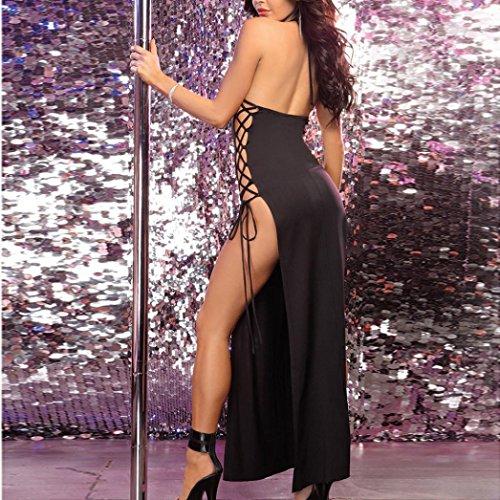 interior de Pieza ropa noche Keepwin de de Ropa vendaje Mujer sexy de Ropa Body sleepdress Lencería Interior Negro Una Encaje tentación Mujer dormir Halter Vestido Vestido qqxg70wH