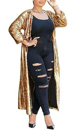 7c4b17260c1 Smeiling Womens Fashion Long Sleeve Sequins Open Front Cardigan Coat Dress  Golden XXS