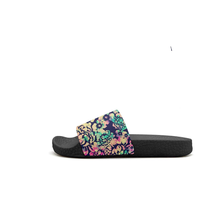 Rainbow Colorful Hipster Flowers Galaxy Womens Unique Slipper Lightweight Open Toe Flat Beach Sandals