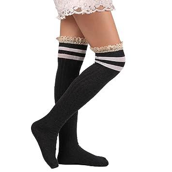 Yosemite mujeres calcetines por encima de la rodilla muslo alta elástico largo calcetines niñas Medias de encaje Fashion, gris oscuro: Amazon.es: Deportes y ...