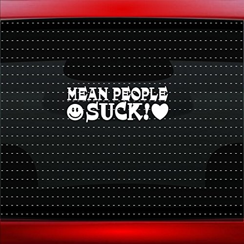 Noizy Graphics Mean People Suck Smiley Face Heart Peace Sign Love Hippie Cute Funny Family Mom Car Sticker Truck Window Vinyl Decal Color HOT PINK ()
