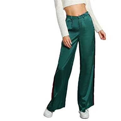 Unique-Shop Striped Side Tailored Wide Leg Pants Green High Waisted Pants  Zipper Fly Casual Trousers at Amazon Women s Clothing store  2688d78b3