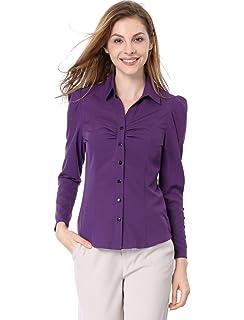 23c18bbdca3 Allegra K Women s Point Collar Long Sleeve Ruched Button Decor Cuffs Shirt