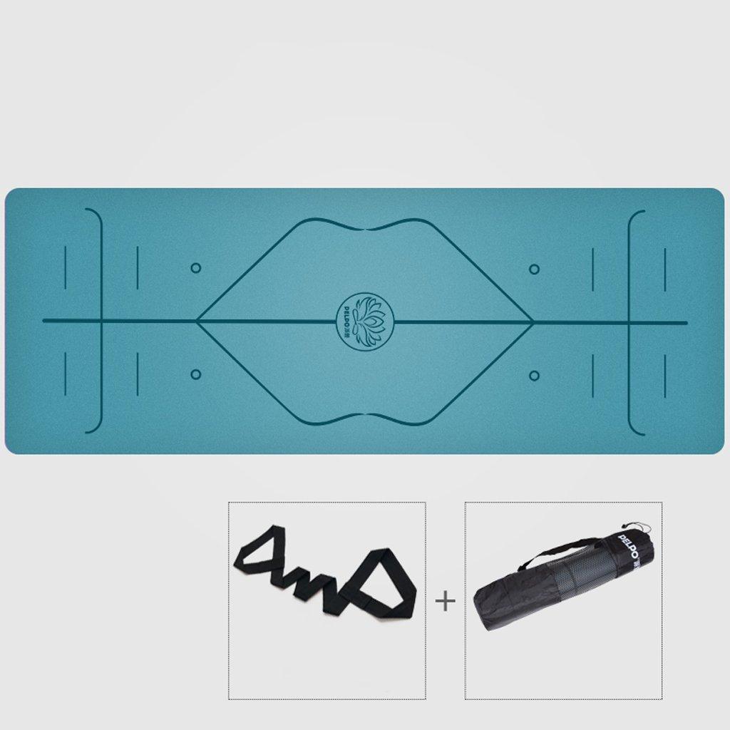 天然ゴムのヨガマット滑り止めパッド入りフィットネスマット初心者のTuhaoパッドプロのシニアタイプ (色 : Gray black) B07F1ZH6P7 Ink blue Ink blue