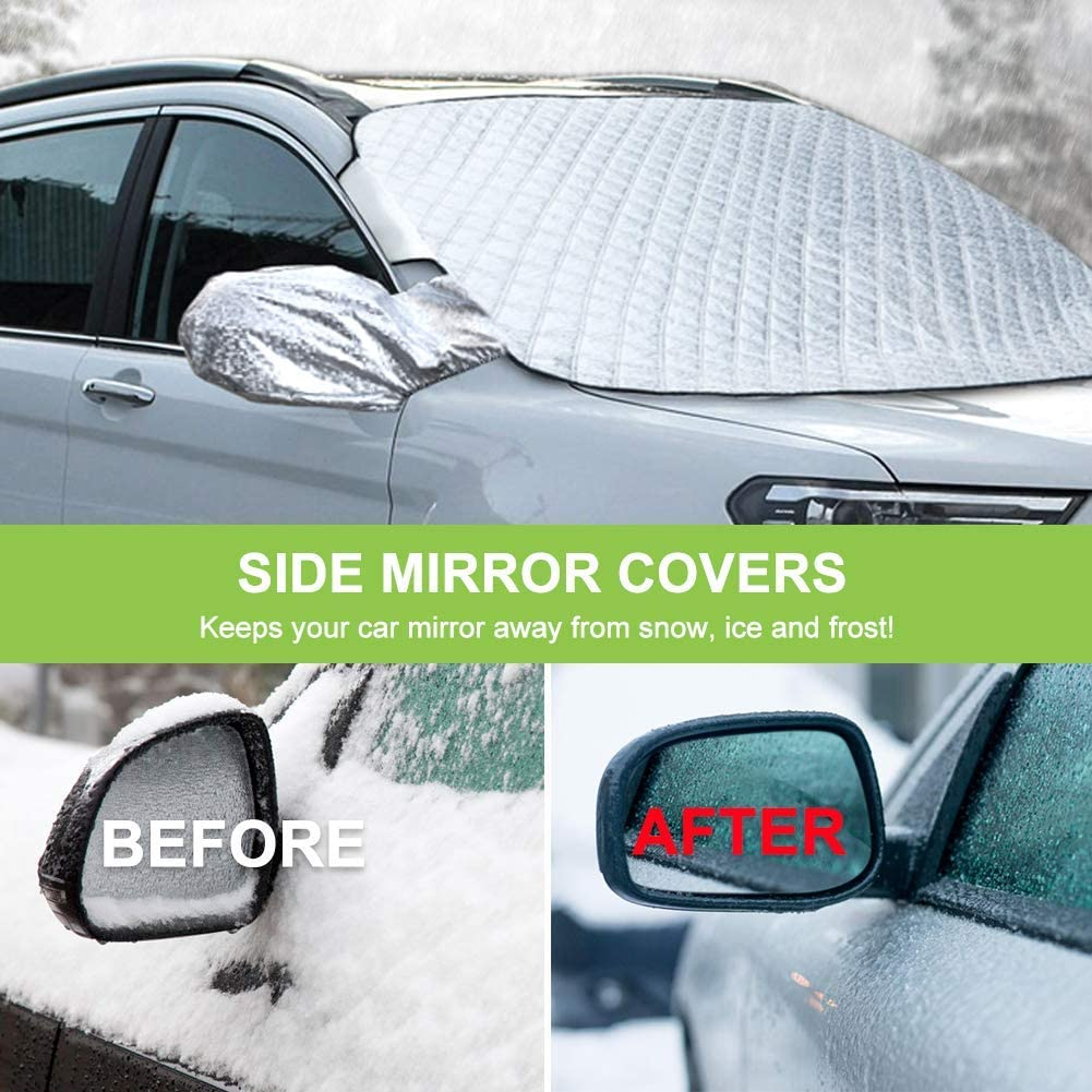 Windshield Guard Water-proof Wind-proof Car Windshield Snow Ice Cover Magnetic Winter Frost Protector Cover with 2 Mirror Covers