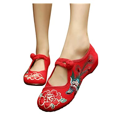 Bininbox Women Embroidered Floral Phoenix Shoes Strap Button Bridal Casual Shoes