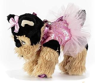 DOGGIE STAR® Borsa a forma di cane razza Yorkshire rosa con il tutù
