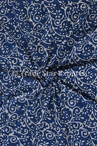 3 Yard Indigo Handmade Block Print Fabric for Dressmaking, Cotton Voile Indian Upholestry Running Fabric by the Yard (Pattern 9)