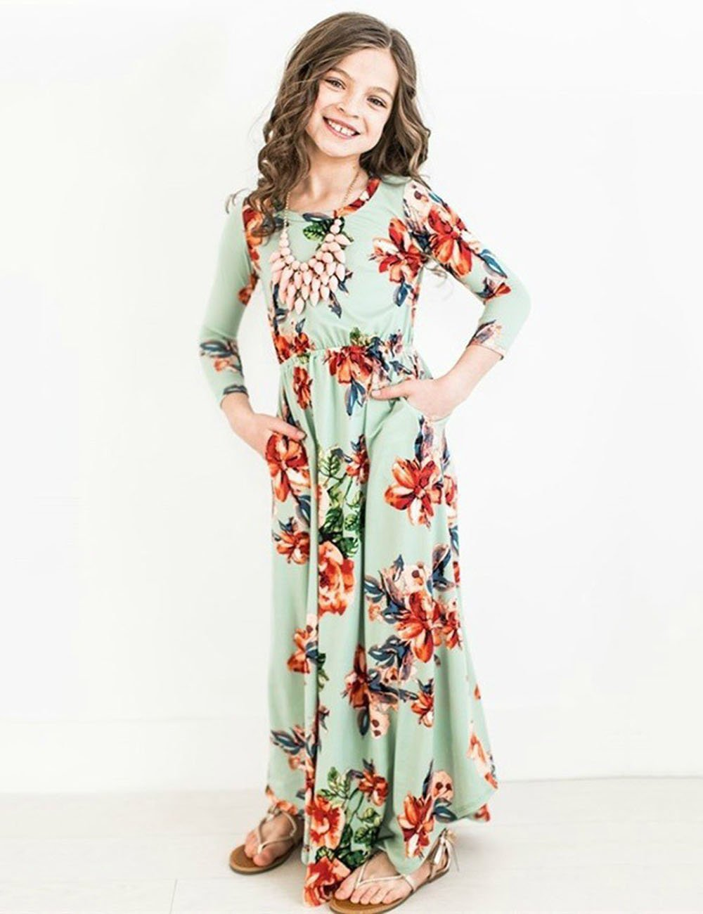 JYH Girls Maxi Dress, Floral Flared Sewing Pocket Three-Quarter Sleeves Long Dress Size 5-12 by JYH (Image #3)