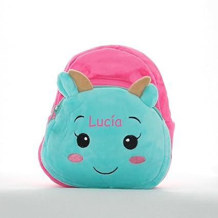 Mini mochila bebé en peluche vaca, color fucsia turquesa, personalizada con nombre bordado/