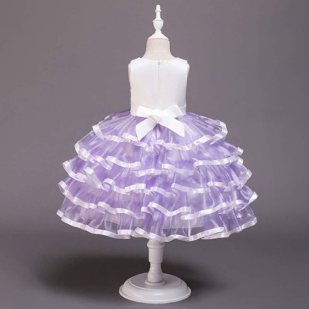 VICGREY Vestito da Ragazza per Bambina Abito da Battesimo da Principessa per Matrimoni Sposa Compleanno Vestiti Bambino Ragazza Elegante