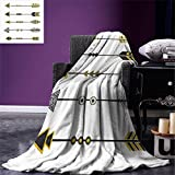 smallbeefly Arrow Digital Printing Blanket Old Fashioned Arrow Figures Tribal Vintage Native Primitive Country Ethnic Elements Summer Quilt Comforter Yellow Black