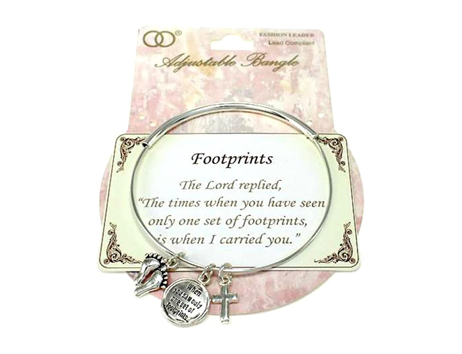 """Footprints"" Religious Inspirational Engraved Silver-tone Adjustable Bracelet w/Charms By Athena Brand"