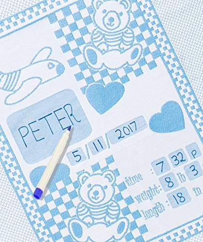 Personalized Baby Blanket Unique Shower Gifts Registry Idea for New-born Girl Boys Twins Moms Customized Receiving Keepsake Item with Special Pen to Write Name Birthday Weight Length (Teddy Bear Blue) (Bib Initial Baby)