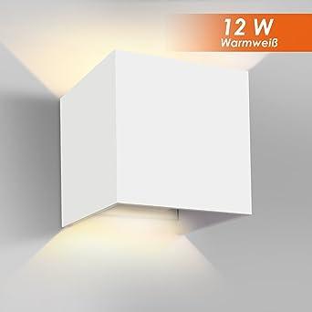 GHB 12W LED Wandleuchte Wandlampe Mit Einstellbar Abstrahlwinkel Design  Wasserdichte IP 65 LED Wandbeleuchtung 2700K Warmweiß