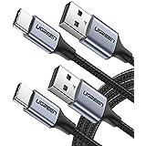 Cable USB Tipo C 3.1, UGREEN Cable Type C Nylon Trenzado para los Celulares como Huawei, Xiaomi, Motorola, LG, HTC, Oneplus, Sony, Laptop MacBook, ChromeBook Pixel, Nexus, Nintendo Switch, GoPro Hero 5 6 7 y Tablets (2m, Negro)