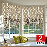 H.VERSAILTEX Bedroom Balloon Shades Blackout Tie Up Curtains (2 Panels) Light Reducing Energy Efficient Window Shades Rod Pocket Panels for Living Room (Moroccan Taupe, 42W x 63L Each Panel)