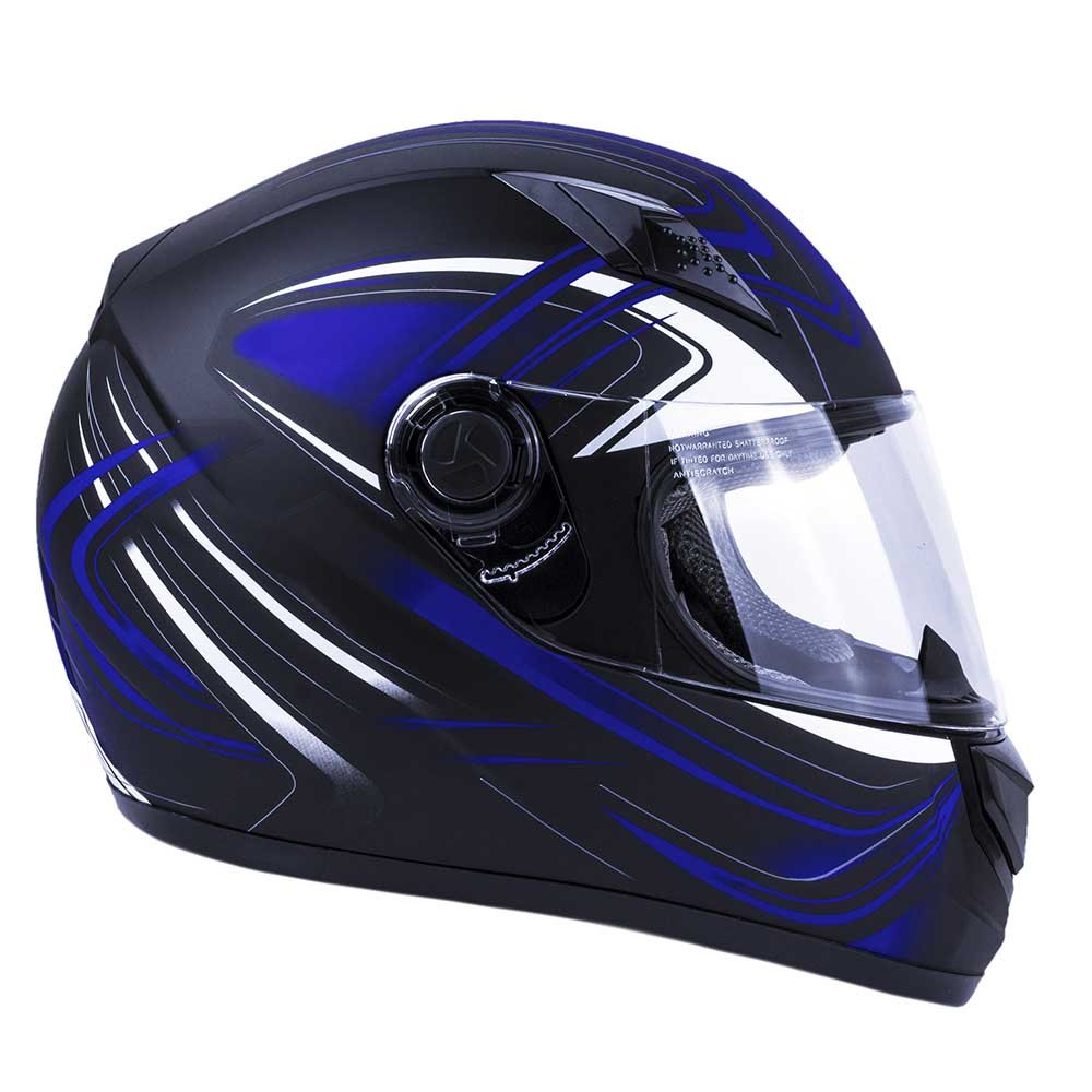 Typhoon Adult Full Face Motorcycle Helmet DOT Matte Blue, Small Same Day Shipping