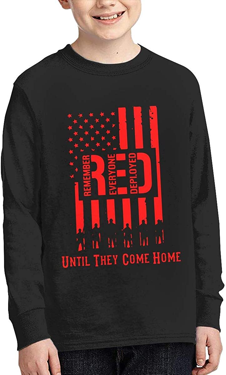 Teenagers Teen Girl RED Friday Remember Everyone Deployed Printed Long Sleeve 100/% Cotton T-Shirts