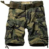 TRGPSG Men's Camo Multi-Pocket Relaxed Fit Casual Shorts, Outdoor Camouflage Cotton Twill Cargo Shorts 11' Inseam