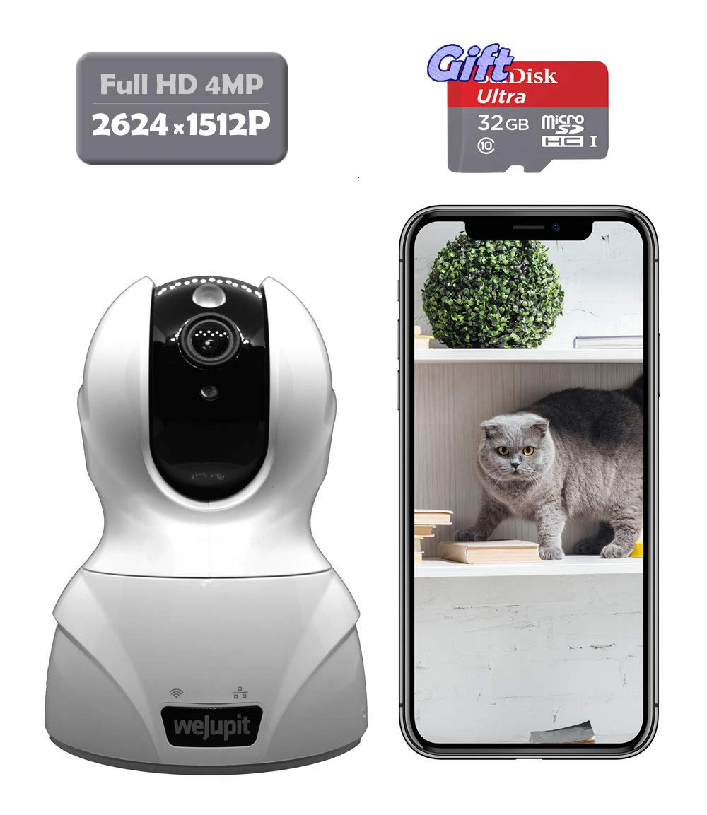 Security Camera 4MP WiFi Baby Pet Home Monitor – weJupit Wireless Indoor Pan Tilt Zoom IP Camera, Motion Detection, Two-Way Audio, Night Vision – Cloud Storage Free 32G SD Card