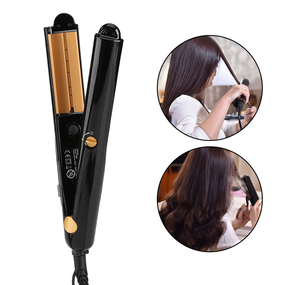 2-in-1 Hair Curler & Straighter, LED Display Essential Oil Vapor Curling Straighten Infused Steam Iron (Black) Brrnoo