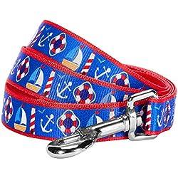 "Blueberry Pet 2 Patterns Peace Bon Voyage Nautical Blue Dream Designer Dog Leash, 5 ft x 3/4"", Medium, Durable Leashes for Dogs"