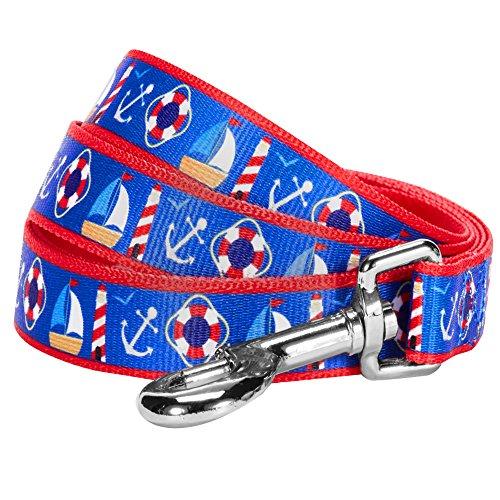 Blueberry Pet 2 Patterns Peace Bon Voyage Nautical Blue Dream Designer Dog Leash, 5 ft x 3/4