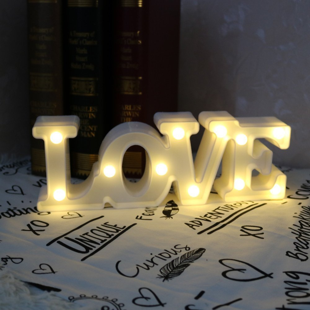 CSKB LED Love Letter Lights For Wedding Light Up Love Marquee Sign Battery Operated Romantic Night Light Table Lamp Christmas Xmas Gift Home Party Wall Hanging Decoration White Size S