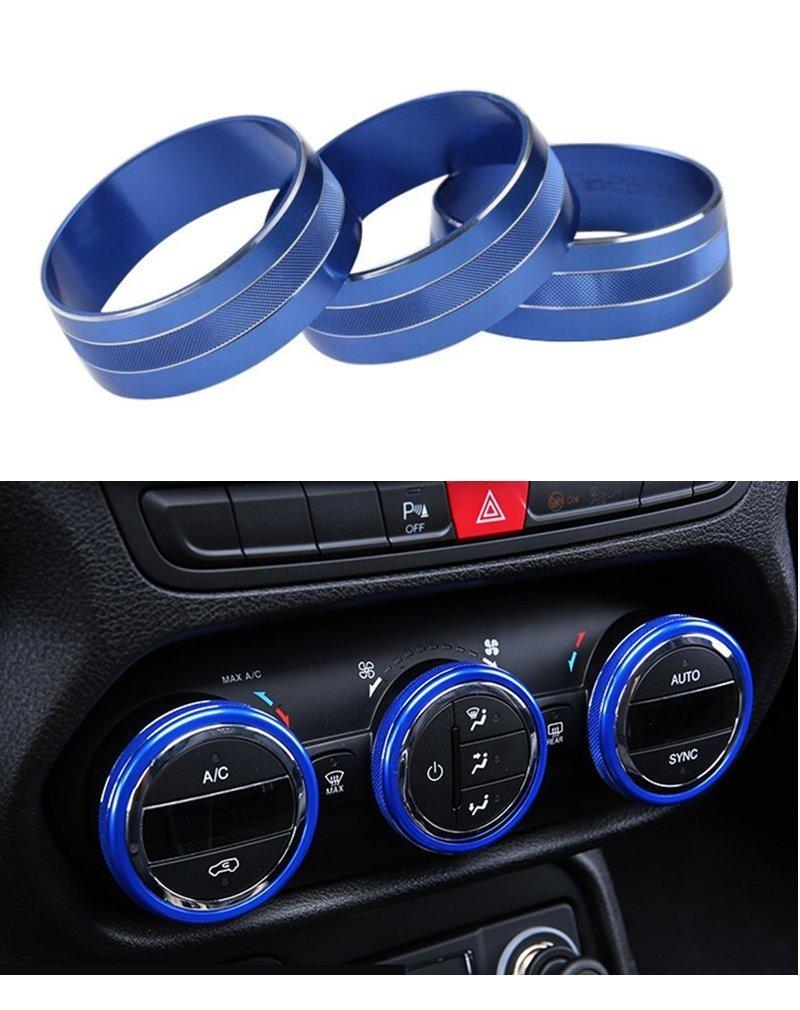 E-cowlboy ボタン用カバー3点セット 車載オーディオエアコン用 車内装飾用 ツイストスイッチ用リングトリム For Steering Wheel ブルー SA-1210 B01JZ5YVXW ブルー ブルー