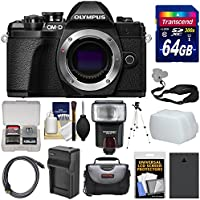 Olympus OM-D E-M10 Mark III 4K Micro 4/3 Digital Camera Body (Black) with 64GB Card + Case + Flash + Battery & Charger + Tripod + Strap Kit