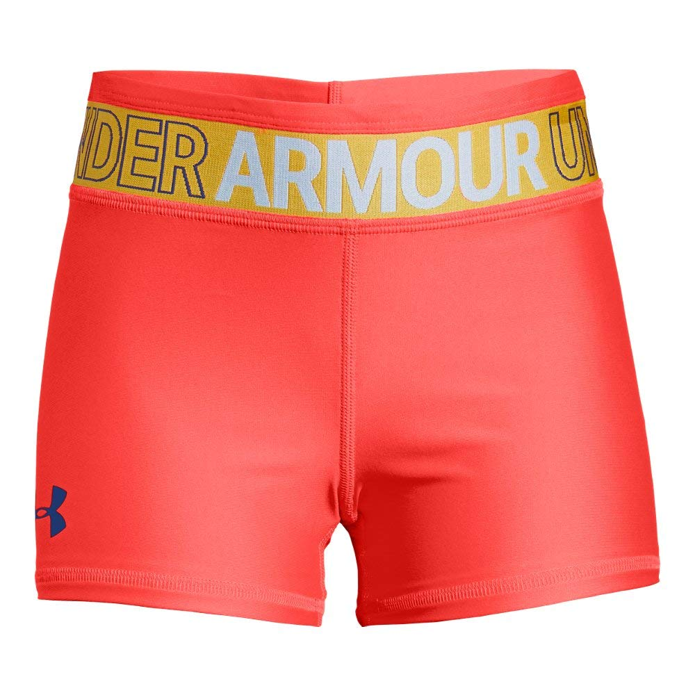 Under Armour Girls' HeatGear Armour Shorty, Neon Coral (985)/Formation Blue, Youth Small by Under Armour